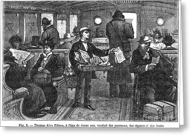1850s Greeting Cards - Thomas Alva Edison Greeting Card by Granger