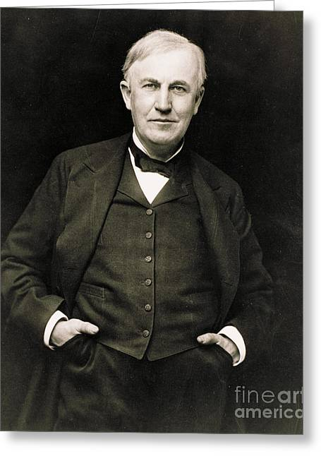 Thomas Edison, American Inventor Greeting Card by Photo Researchers