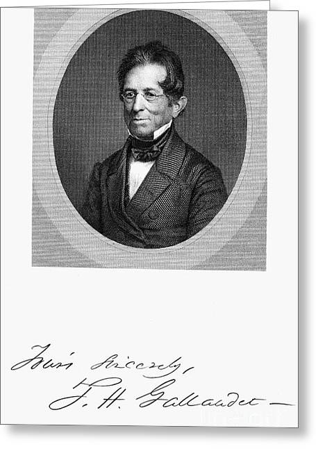Autograph Greeting Cards - Thomas Hopkins Gallaudet Greeting Card by Granger