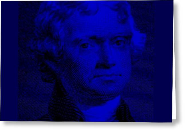 THOMAS JEFFERSON in BLUE Greeting Card by ROB HANS