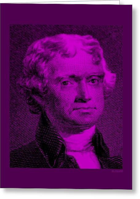 4th July Digital Greeting Cards - THOMAS JEFFERSON in PURPLE Greeting Card by Rob Hans