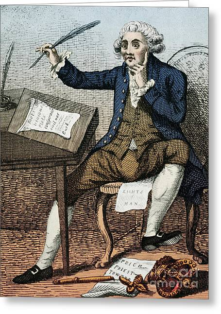 Rights Of Man Greeting Cards - Thomas Paine, American Founding Father Greeting Card by Photo Researchers