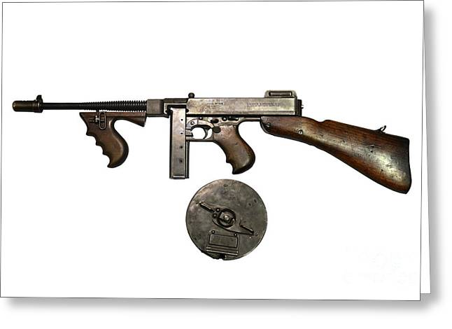 Copy Machine Greeting Cards - Thompson Model 1928 Submachine Gun Greeting Card by Andrew Chittock