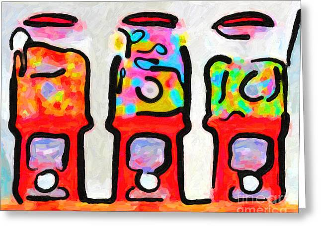 Canned Food Greeting Cards - Three Candy Machines Greeting Card by Wingsdomain Art and Photography