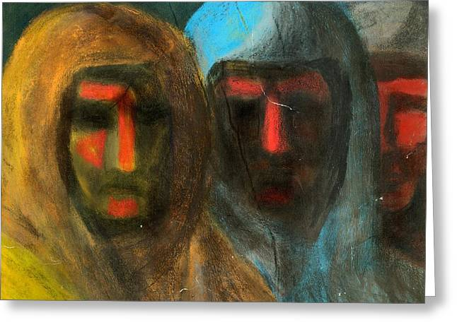 Three Figures Greeting Card by Chester