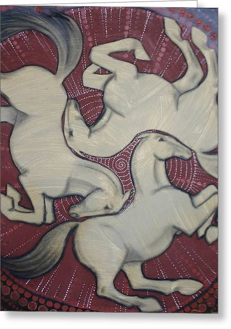 Celtic Art Greeting Cards - Three Horses Greeting Card by Sophy White