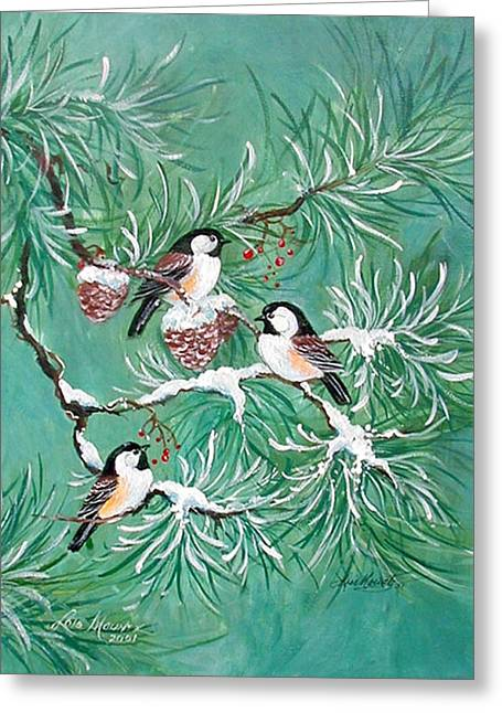 Pine Cones Paintings Greeting Cards - Three Little Chickadees in Pine Greeting Card by Lois Mountz