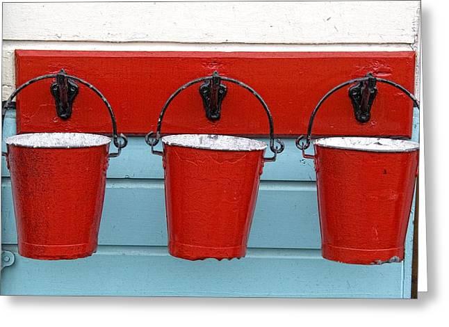 Three Red Buckets Greeting Card by John Short