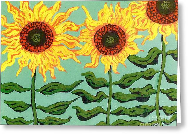 Plant Stretched Canvas Greeting Cards - Three Sunflowers Greeting Card by Genevieve Esson