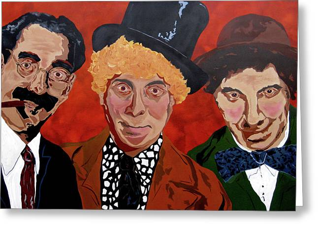 Marx Brothers Greeting Cards - Threes Comedy Greeting Card by Bill Manson