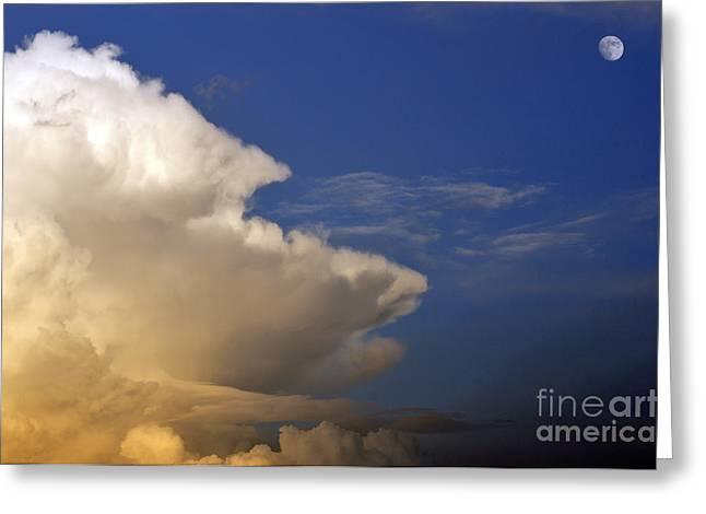 Thunderhead Greeting Cards - Thunderhead and Moon Greeting Card by Thomas R Fletcher