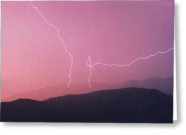 Images Lightning Greeting Cards - Thunderstorm, Idaho Peak, Selkirk Greeting Card by Ron Watts