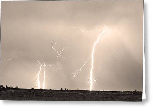 Images Lightning Greeting Cards - Thunderstorm on the Plains BW Sepia Greeting Card by James BO  Insogna