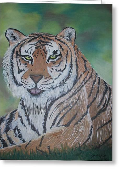 Shadrach Ensor Greeting Cards - Tiger Greeting Card by Shadrach Ensor