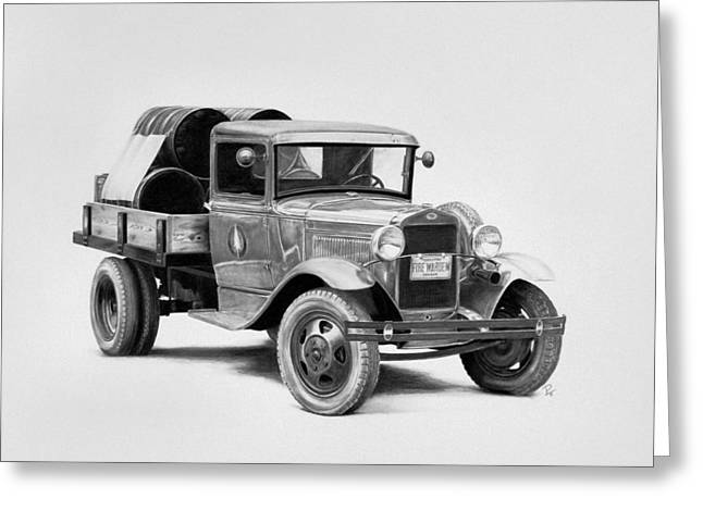 Classic Pickup Drawings Greeting Cards - Tillamook Forest Fire Truck Greeting Card by Patrick Entenmann