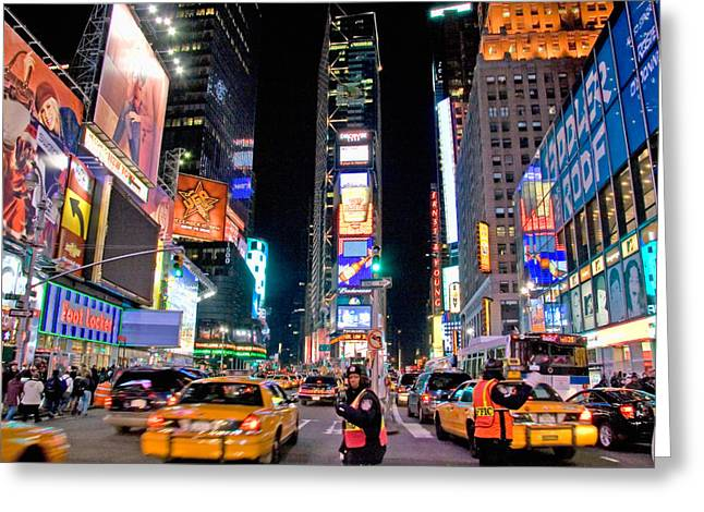 Billboard Greeting Cards - Times Square Greeting Card by June Marie Sobrito