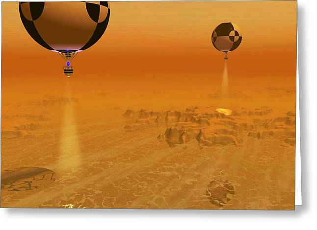 Surveying Greeting Cards - Titan Exploration, Artwork Greeting Card by Walter Myers