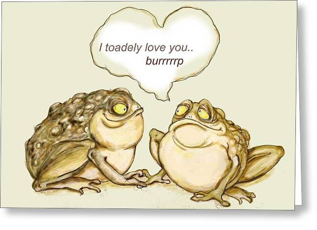 Amphibian Mixed Media Greeting Cards - Toadely in Love Greeting Card by Peggy Wilson