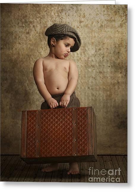 toddler Leaving Home Greeting Card by Yedidya yos mizrachi
