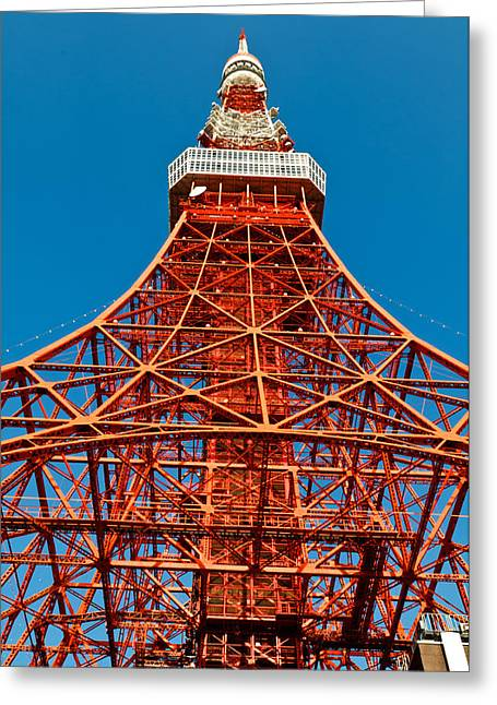 Observer Greeting Cards - Tokyo tower faces blue sky Greeting Card by Ulrich Schade
