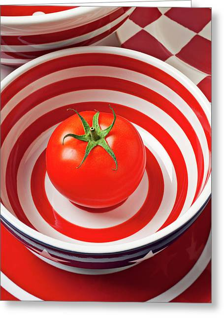 Juicy Greeting Cards - Tomato in red and white bowl Greeting Card by Garry Gay