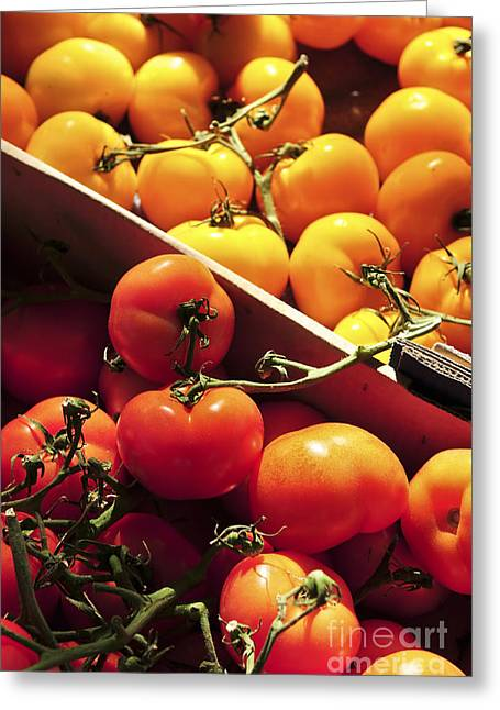 Farm Stand Greeting Cards - Tomatoes on the market Greeting Card by Elena Elisseeva