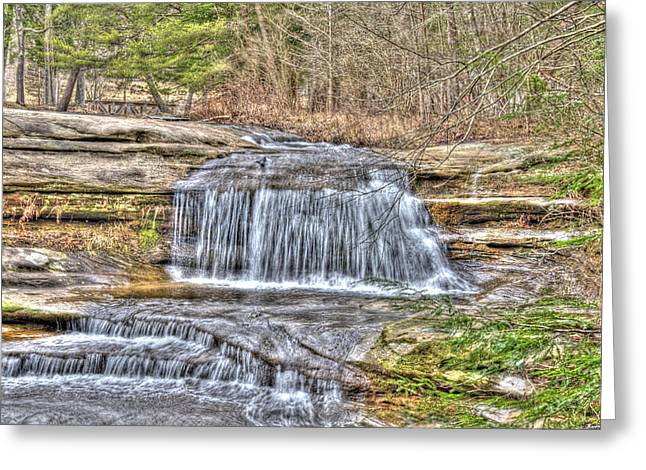 Cliffs Pyrography Greeting Cards - Top of the Upper Falls Greeting Card by Shirley Tinkham