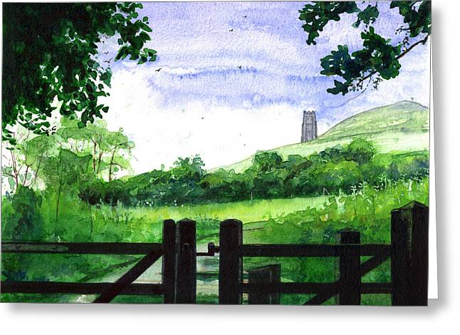 Tor Paintings Greeting Cards - Tor in Glastonbury Greeting Card by John D Benson