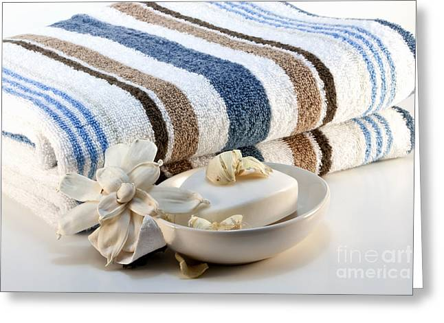 Stripes Greeting Cards - Towel with soap Greeting Card by Blink Images