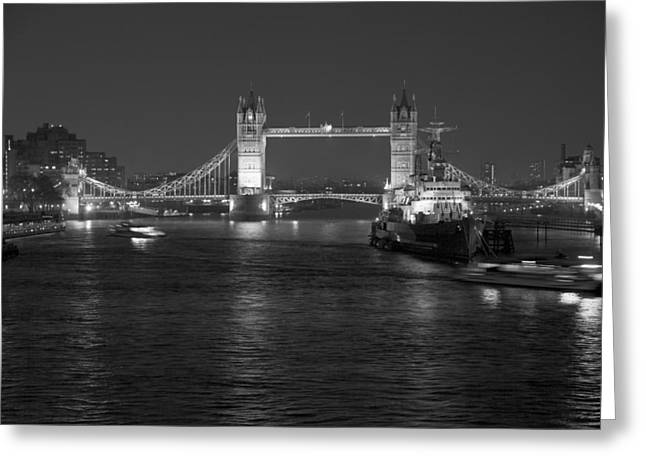 London Pyrography Greeting Cards - Tower Bridge by Night Greeting Card by Sean Foreman