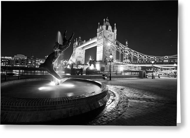 Glas Greeting Cards - Tower Bridge Girl with a Dolphin Greeting Card by David French