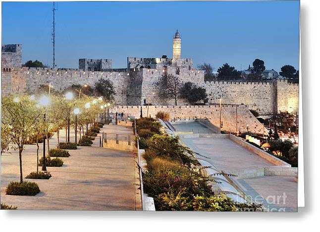 Old City Tower Greeting Cards - Tower of David Greeting Card by Noam Armonn