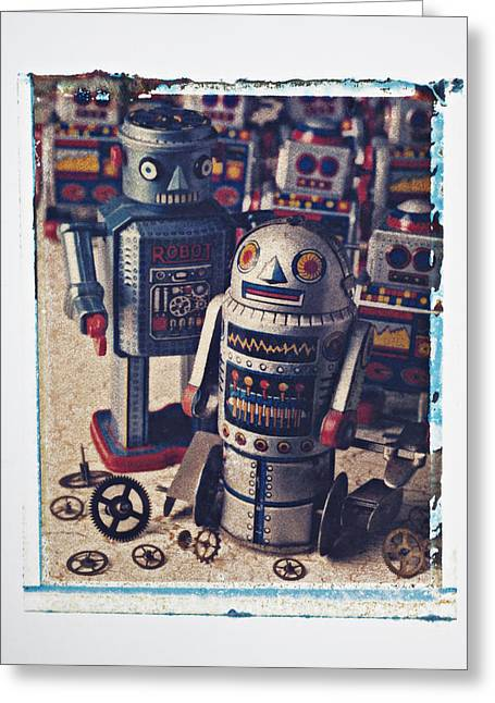 Transfer Greeting Cards - Toy robots Greeting Card by Garry Gay