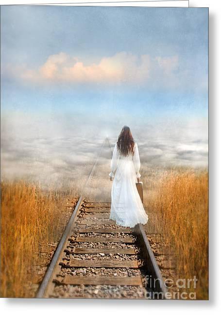 Final Destination Greeting Cards - Train Tracks Into the Clouds Greeting Card by Jill Battaglia