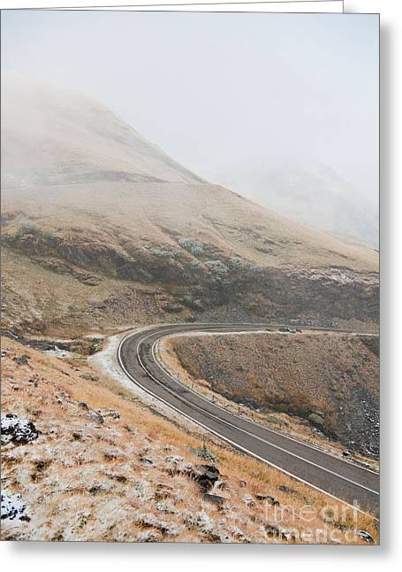 Foggy Day Greeting Cards - Transfagarasan Highway Greeting Card by Gabriela Insuratelu