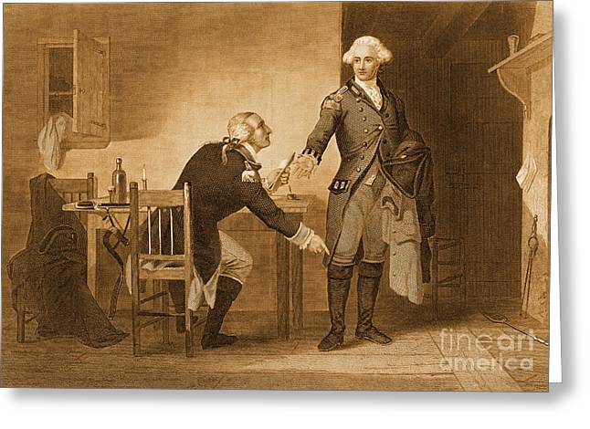 Treason Greeting Cards - Treason Of Benedict Arnold, 1780 Greeting Card by Photo Researchers