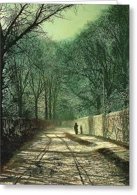 Figure In Oil Greeting Cards - Tree Shadows in the Park Wall Greeting Card by John Atkinson Grimshaw