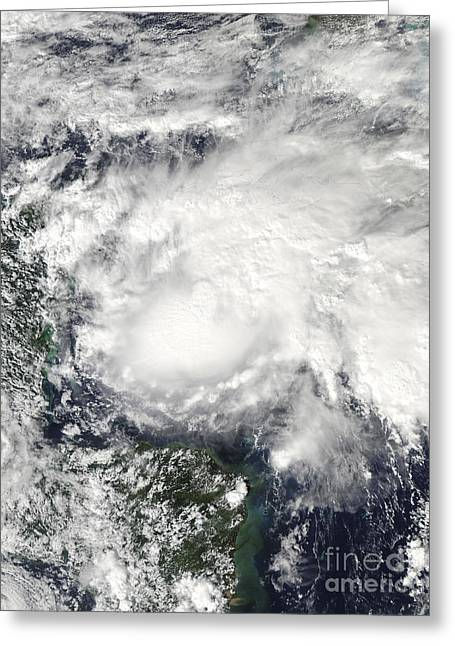 Tropical Storm Ida In The Caribbean Sea Greeting Card by Stocktrek Images