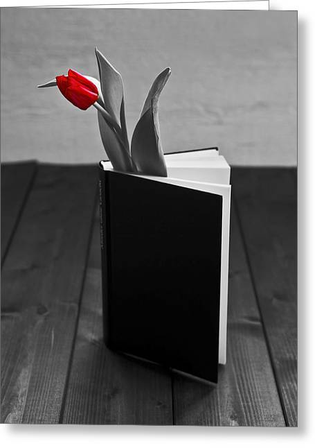 Tulip Blossom Greeting Cards - Tulip In A Book Greeting Card by Joana Kruse