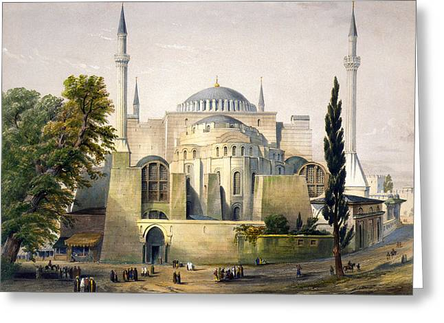 Hagia Sofia Greeting Cards - Turkey: Hagia Sophia, 1852 Greeting Card by Granger