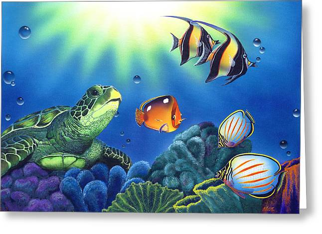 Sea Turtles Greeting Cards - Turtle Dreams Greeting Card by Angie Hamlin