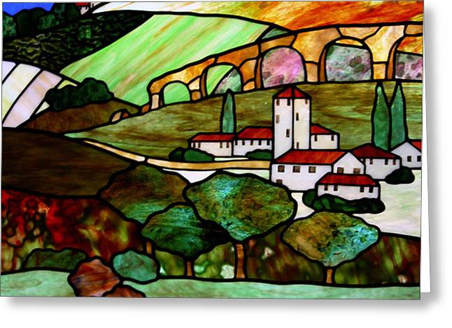 Italy Glass Art Greeting Cards - Tuscany Hills Greeting Card by Jane Croteau
