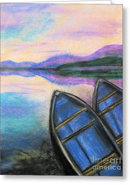 Fishing Boats Pastels Greeting Cards - Twilight at Rest Greeting Card by Judy Via-Wolff