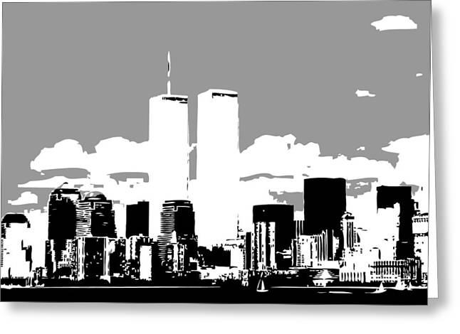 The Capital Of The World Greeting Cards - Twin Towers BW3 Greeting Card by Scott Kelley