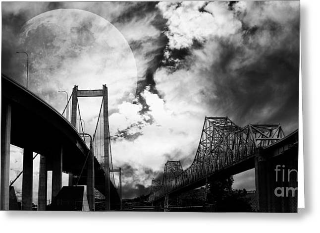 Eastbay Greeting Cards - Two Bridges One Moon Greeting Card by Wingsdomain Art and Photography