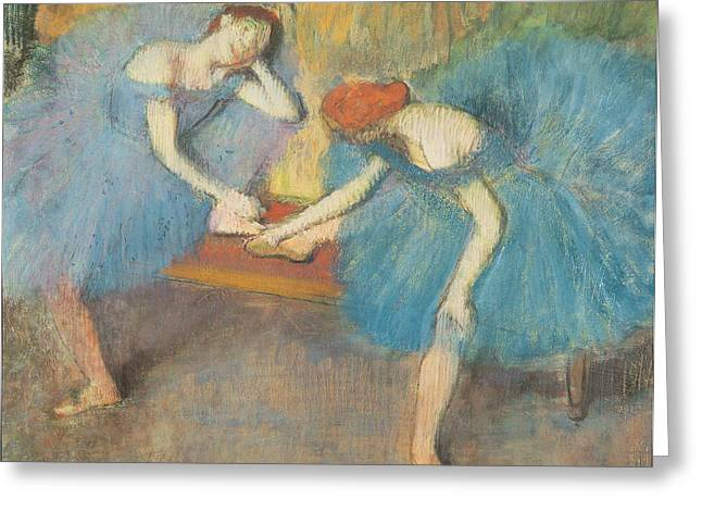 Ballerinas Pastels Greeting Cards - Two Dancers at Rest Greeting Card by Edgar Degas