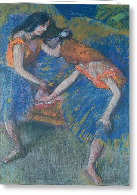 Dancing Girl Pastels Greeting Cards - Two Dancers Greeting Card by Edgar Degas