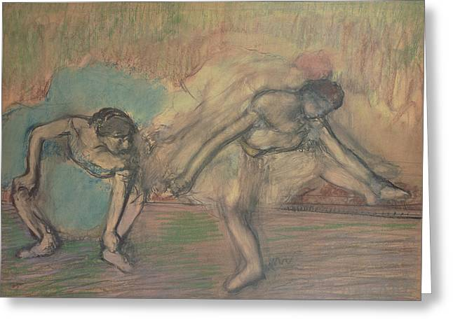 Ballerinas Pastels Greeting Cards - Two Dancers Resting Greeting Card by Edgar Degas