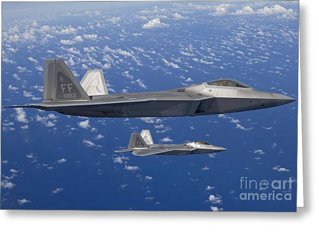 Close To People Greeting Cards - Two F-22 Raptors Fly In Formaton Greeting Card by HIGH-G Productions