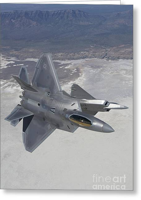 Maneuver Greeting Cards - Two F-22 Raptors Maneuver While Greeting Card by HIGH-G Productions